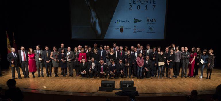 El deporte murciano se vistió de gala para entregar los Premios al Mérito 2017