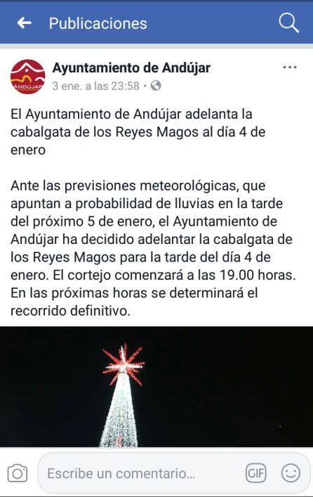 Comunicado del Ayuntamiento de Andújar en redes sociales