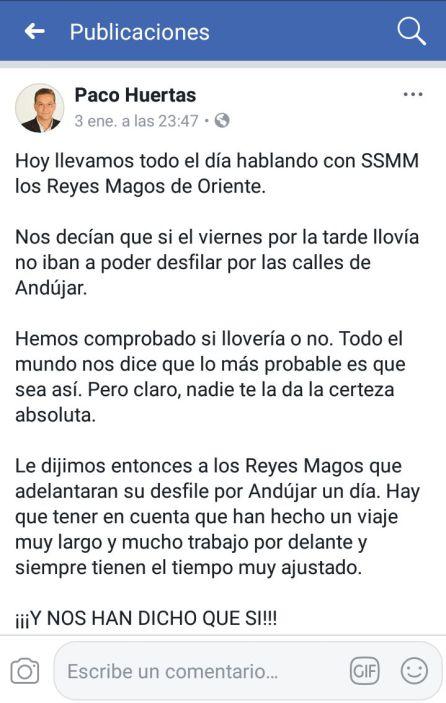 Comunicado del alcalde de Andújar, Francisco Huertas, en redes sociales