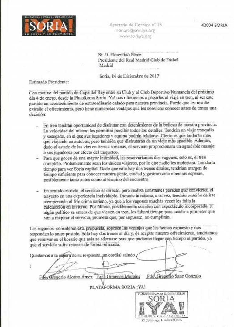 La carta remitida por la Plataforma Soria ¡Ya! al presidente del Real Madrid, Florentino Pérez.