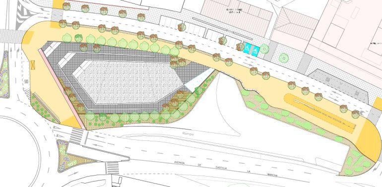 Así quedará la nueva plaza de más de 1.000 metros cuadrados junto a la Estación de Autobuses de Toledo