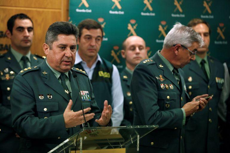 El coronel Francisco Javier Jambrina Rodríguez, jefe de la Comandancia de la Guardia Civil, en rueda de prensa para dar cuenta de los pormenores de la detención del autor confeso de la muerte de la joven madrileña Diana Quer