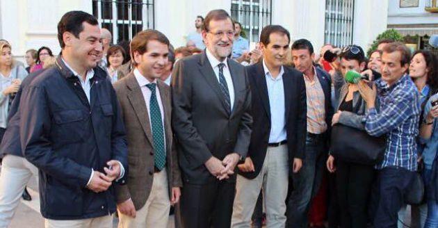 Fernando Priego arropado por Rajoy, Moreno y Nieto, tras su victoria electoral de 2015