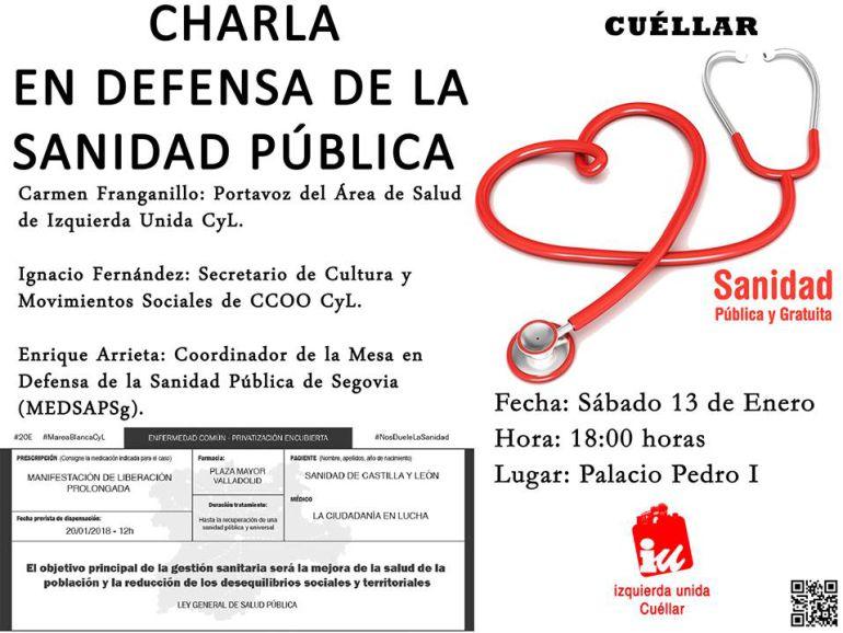Cartel de la charla sobre la defensa de la Sanidad Pública organizada en Cuéllar