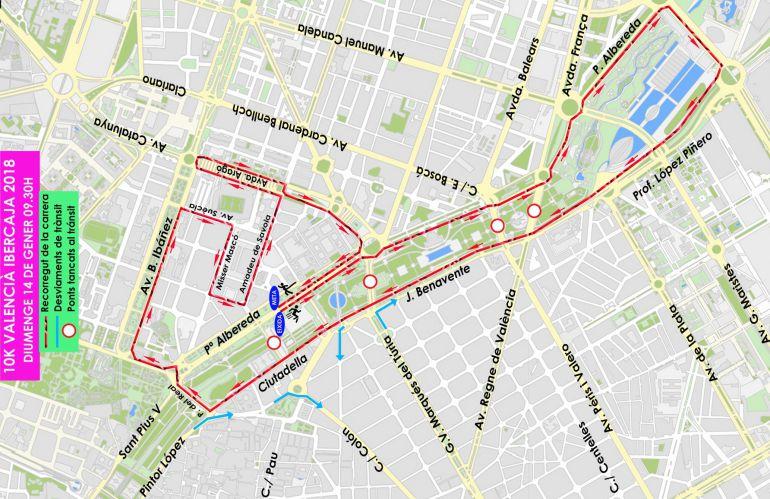 Plano con el recorrido y los cortes de tráfico previstos con motivo de la carrera 10K Valencia Ibercaja