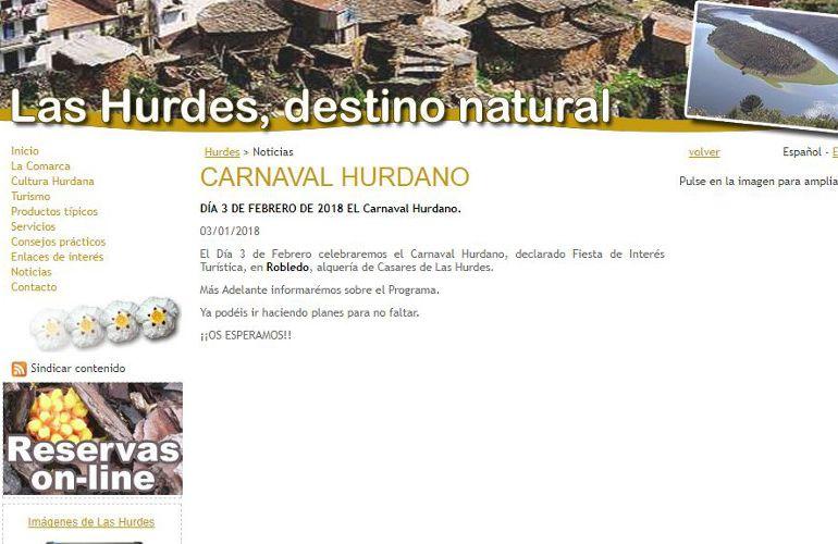 La web de la mancomunidad de municipios anuncia el Carnaval Hurdano el 3 de febrero