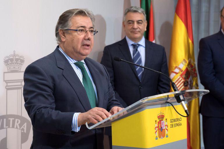 Zoido, durante el acto de toma de posesión del nuevo jefe superior de la Policía Nacional en el País Vasco