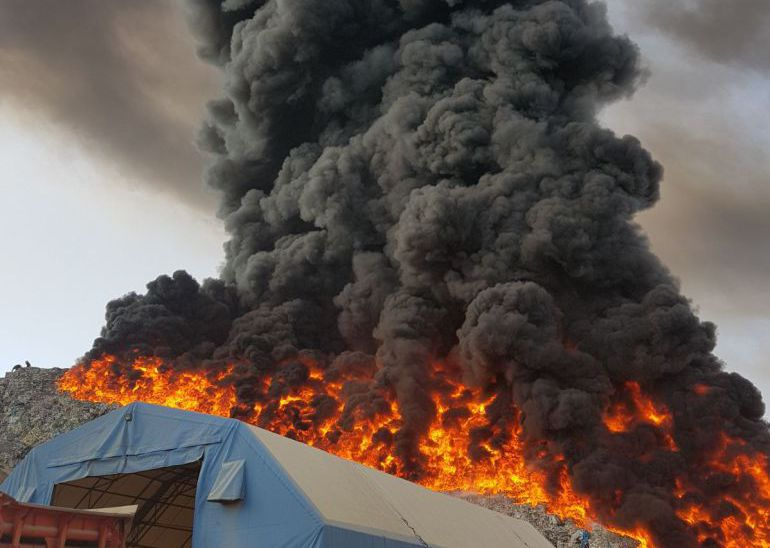 Incendio de RECICOR, el pasado mes de octubre.