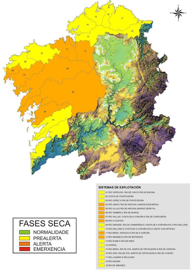 La alerta por sequía se mantiene en 7 sistemas de Galicia Costa
