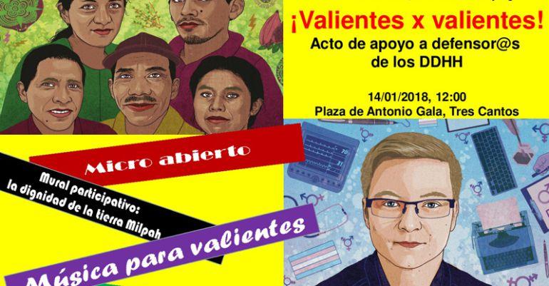 Cartel de la campaña Valientes con el acto de apoyo a defensores de los derechos humanos