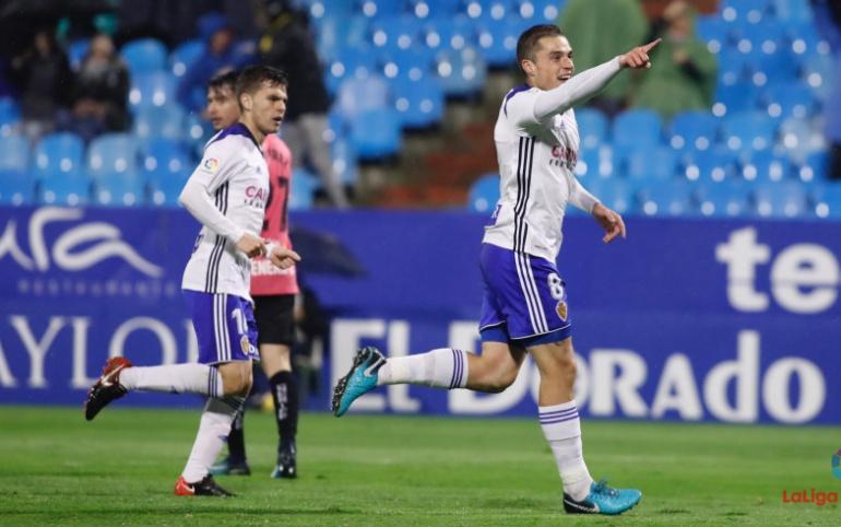 Pombo celebra su gol ante el Tenerife