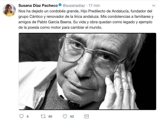 Condolencias de la presidenta de la Junta Susana Díaz