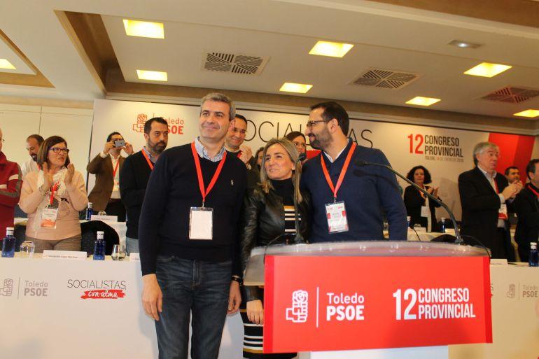 Álvaro Gutiérrez, secretario provincial del PSOE de Toledo, Milagros Tolón, alcaldesa de Toledo y Sergio Gutiérrez, secretario de Organización del PSOE regional.