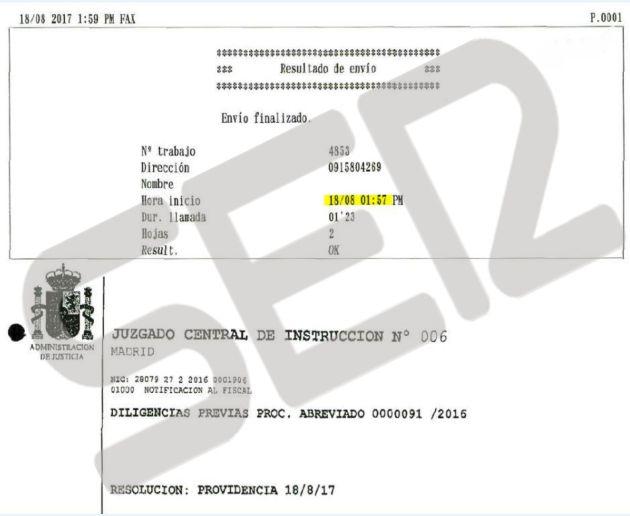 Imagen del registro del Fax enviado por la Audiencia Nacional a los letrados de la Comunidad de Madrid con la providencia del Juez Andreu, que ya en agosto dio vía libre al Gobierno de Cifuentes para entregar las actas del Canal de Isabel II porque no estaban protegidas bajo secreto de sumario