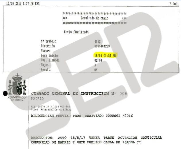 Imagen del registro del Fax enviado por la Audiencia Nacional a los abogados de la Comunidad de Madrid, el mismo día 18 de agosto, para notificarles el auto en el que aceptan su personación en la causa del Caso Lezo