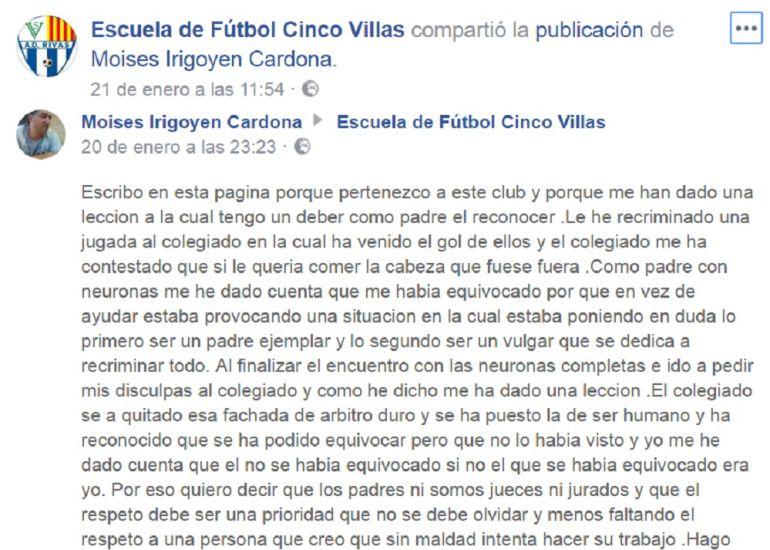 La Escuela de Fútbol Cinco VIllas ha compartido las disculpas del padre a través de su página de Facebook