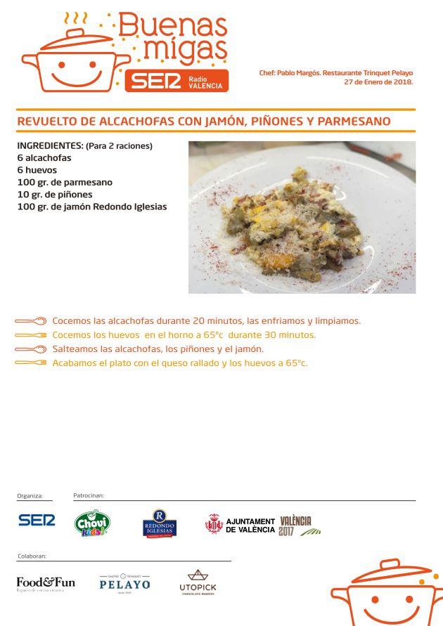 Revuelto de alcachofas con jamón, piñones y parmesano