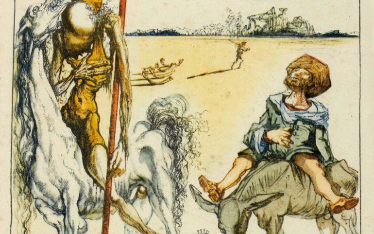Uno de los grabados de Dalí sobre El Quijote