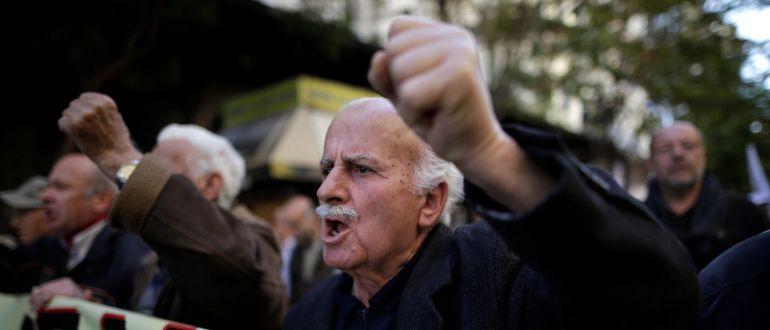Imagen de una manifestación en protesta por la corta subida de las pensiones