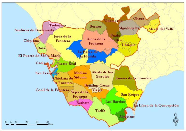 Mapa de la provjncia de Cádiz