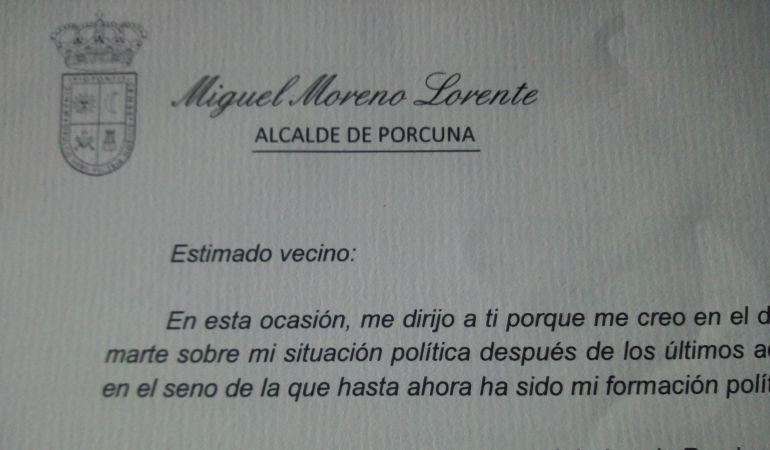 Estracto de la carta de Miguel Moreno