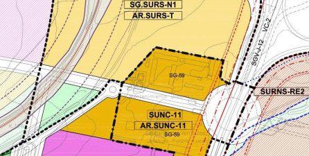 En amarillo claro y con la denominación SG.SURS-N1 los terrenos de propiedad privada. En mostaza y con la denominación SUNC-11 los terrenos municipales.