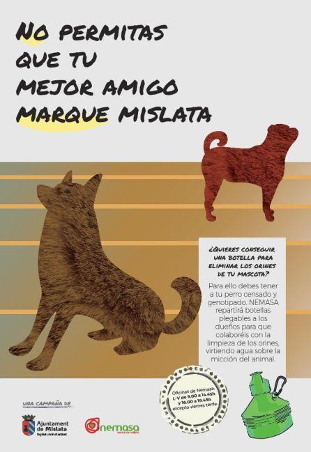 Tríptico informativo de la campaña contra la los orines de perro en las calles de Mislata