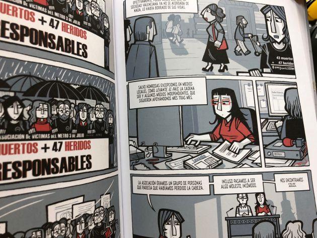 """Fragmento del cómic """"El Día 3"""" en el que aparece Radio Valencia Cadena SER"""
