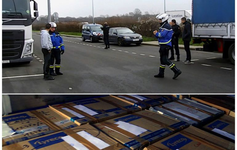 """Fotografías facilitadas por el Ministerio del Interior, de la """"operación Mémoire vivante"""" que se llevó a cabo los pasados días 5 y 6 de febrero, con el traslado del """"archivo de ETA"""" desde París a Madrid en un convoy de camiones de la Guardia Civil."""