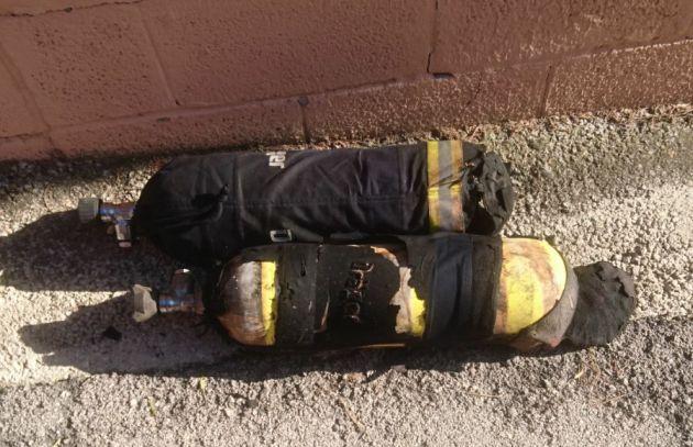 Estado del equipamiento de los bomberos tras el incendio