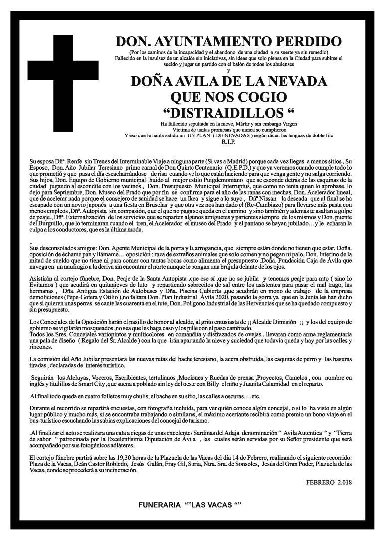 Noticias Ávila: La esquela 'Sin piedad'