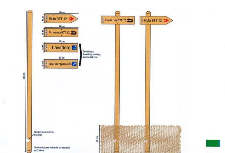 Una de las señales que indicarán las diferentes rutas BTT según el pliego técnico de licitación