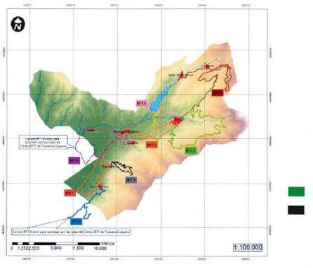 Mapa señalizando las rutas por el Valle del Ambroz