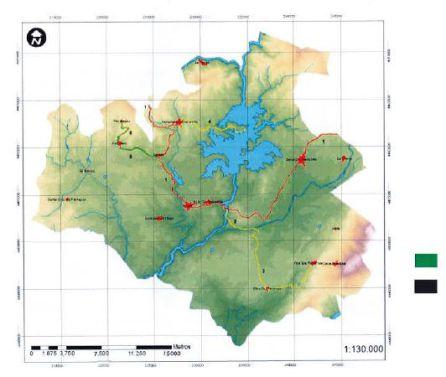 Mapa señalizando algunas de las rutas por la comarca de Cáparra