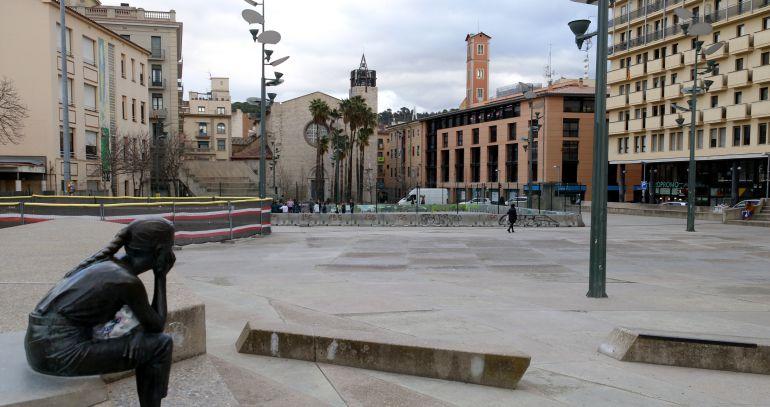 L'antiga plaça Constitució, ara ja Plaça 1 d'Octubre de 2017.