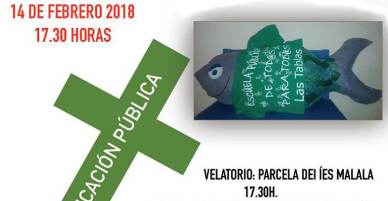 Cartel del acto por la educación pública en Las Tablas de Madrid