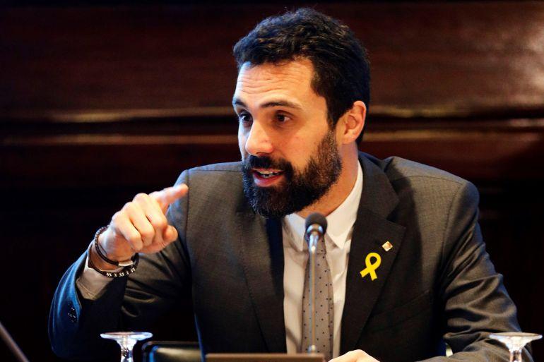 El presidente de la cámara catalana, Roger Torrent, durante la reunión semanal de la Mesa del Parlament