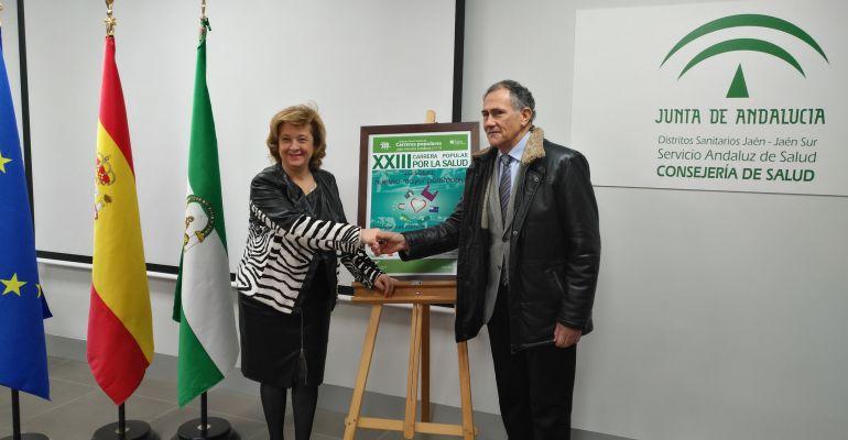 La delegada de Salud, Teresa Vega, junto al presidente del Real Jaén CF, Tomás Membrado, en la presentación de la colaboración del club en la Carrera de la Salud.