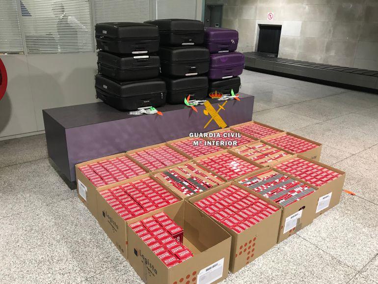 El material incautado se ocultaba en nueve maletas