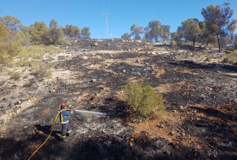 Arde media hectárea en un incendio forestal en Zarcilla de Ramos, Lorca