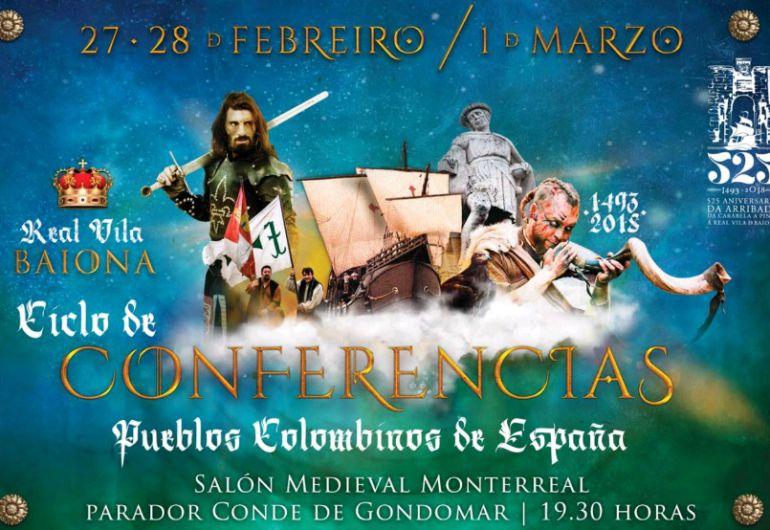 Cartel del ciclo de conferencias por el 525 aniversario de la Arribada de Baiona.