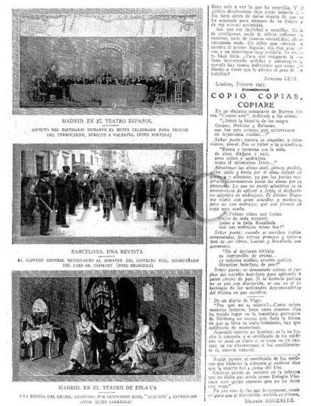 En la foto de arriba, asamblea de representantes de Madrid, Cuenca y Valencia en el Teatro Español.