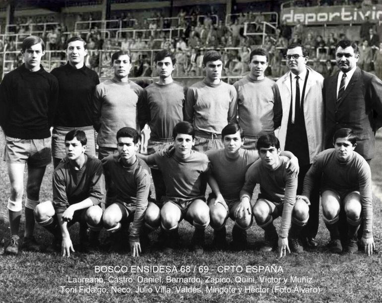 """Equipo del """"Bosco Ensidesa"""" en el Campeonato de España 1968-1969, con Castro (el también fallecido hermano de Quini), Toni Fidalgo y Quini"""