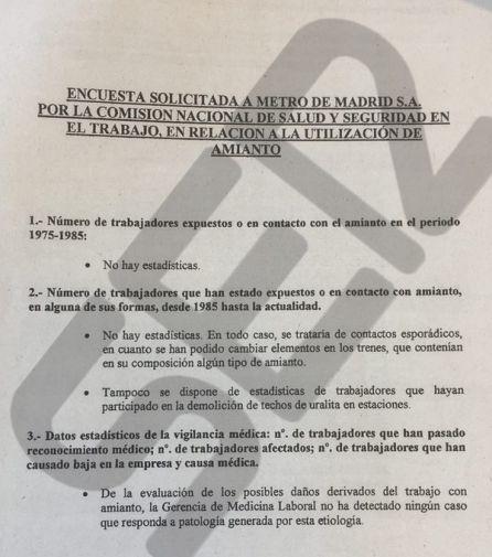 Encuesta que la Comisión Nacional de Salud en el Trabajo encargó a Metro de Madrid en 2003