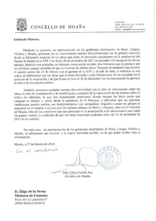 Carta de los gobiernos de Bueu, Cangas, Moaña y Vilaboa al ministro de Fomento.