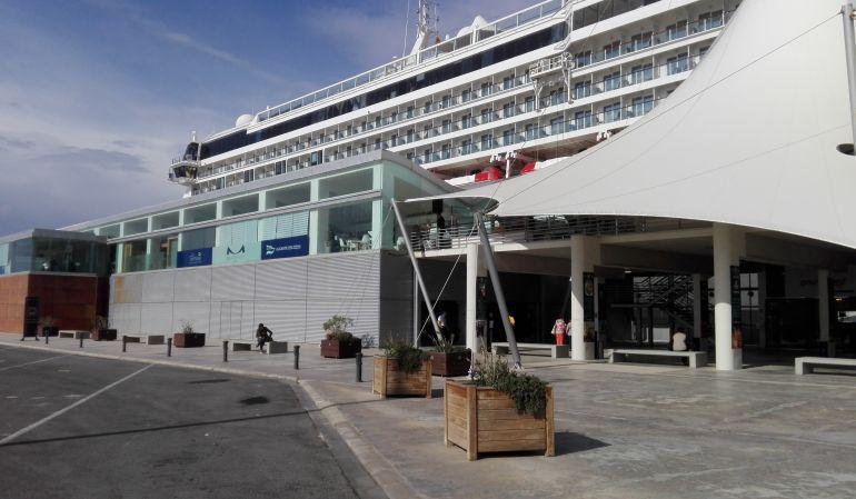 Un crucero atracado hoy, tras la terminal marítima en la que se ha celebrado la jornada.