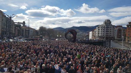 Nueva concentración masiva de pensionistas en Bilbao
