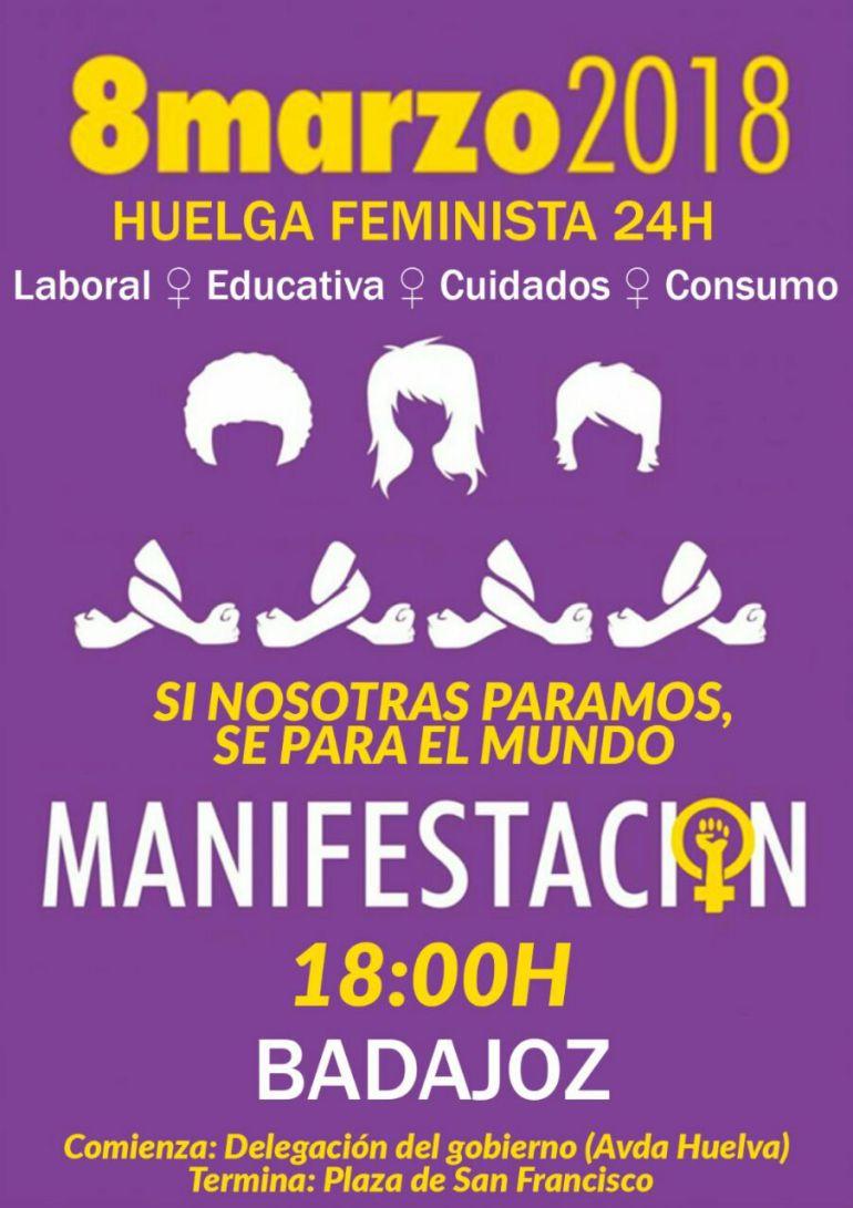 Convocatoria de manifestación de la Plataforma 8M en Badajoz