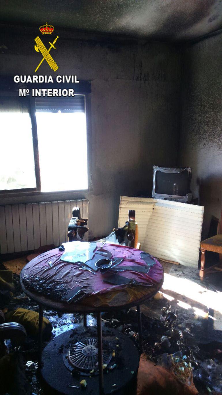 Estado en el que quedó la vivienda incendiada en Guadalupe