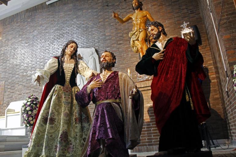 Imágenes del misterio de Regina Mundi presentadas y bendecidas este sábado, realizadas por Israel Cornejo